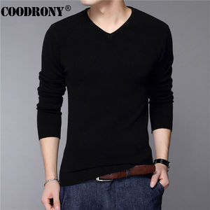 COODRONY Casual Slim Fit Sweater Men Classic Pure Black Pullover Men Solid Color V-Neck Pull Homme Cashmere Wool Sweaters Shirts