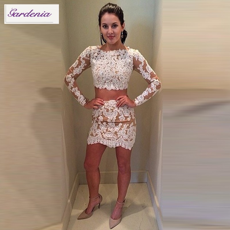 2 Piece Homecoming Dress Long Sleeve Lace Appliqued Tulle