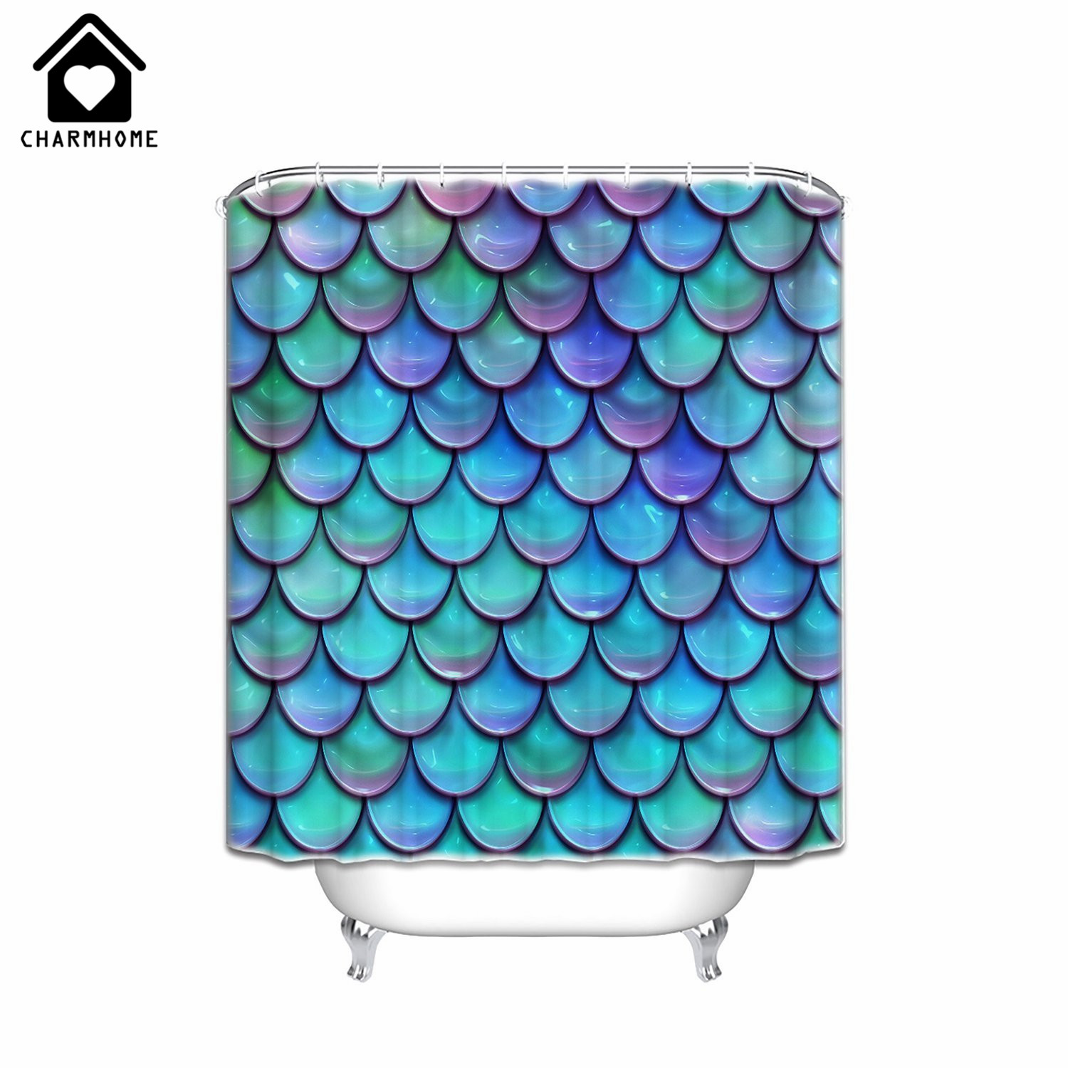Coral and aqua shower curtain - Charmhome Custom Print Fish Scales Purple Blue Shower Curtain Decoration Waterproof Polyester Fabric Bathroom Shower Curtain