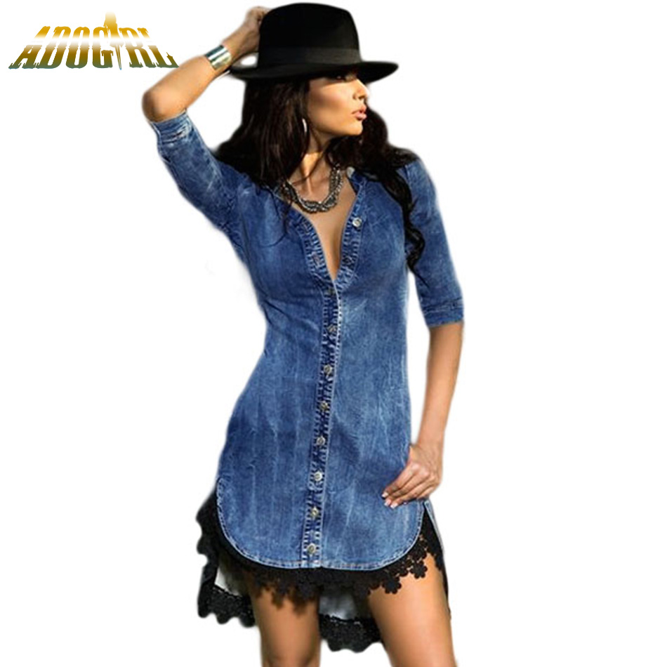 Adogirl Jeans Denim Dress For Women Lace Trim Button Down Shirt Dress Casual Slim Dress Autumn Winter European Vestido De Renda