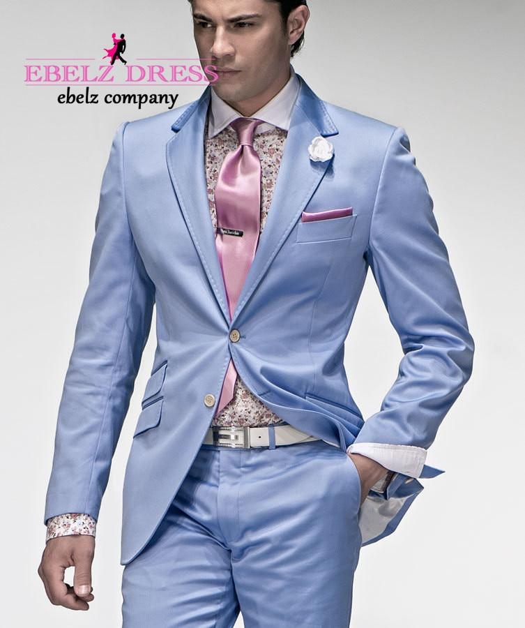 2015 Italian Groom Light Blue Tuxedos Summer Suit Men Tunic Traje ...