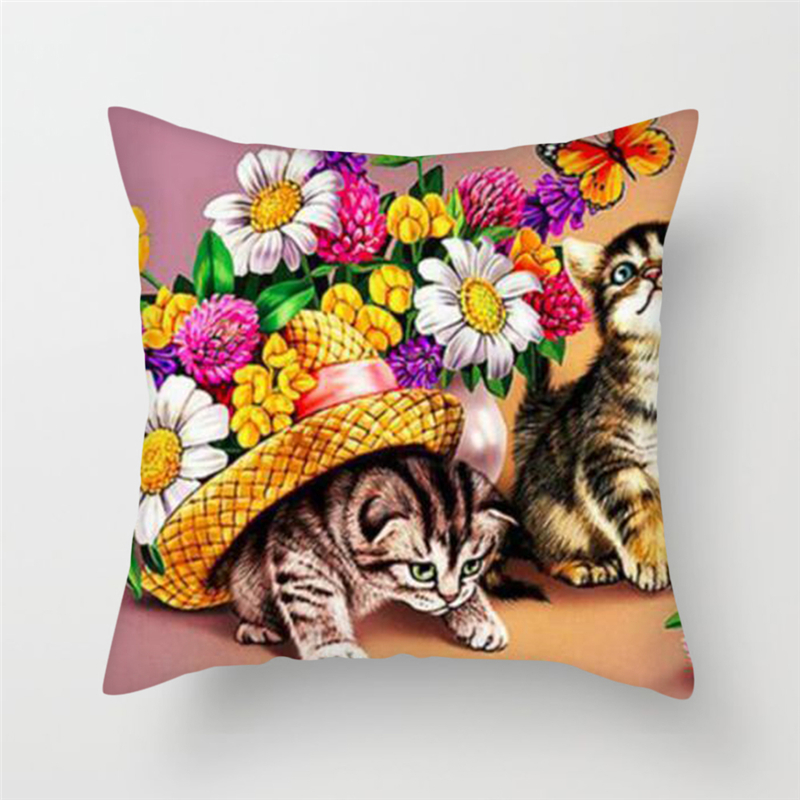Fuwatacchi Cute Animals Cushion Covers Cats Dog Farm Life Views Pillow Covers for Home Chair Sofa Decor Flowers Pillowcases in Cushion Cover from Home Garden