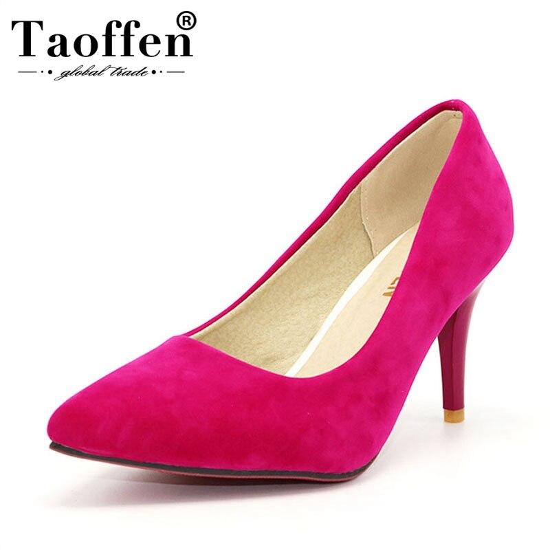 TAOFFEN Lady Flower Women high heels platform shoes Women ultra high heels Patchwork evening Dress shoes Pumps size 31-47 P16558