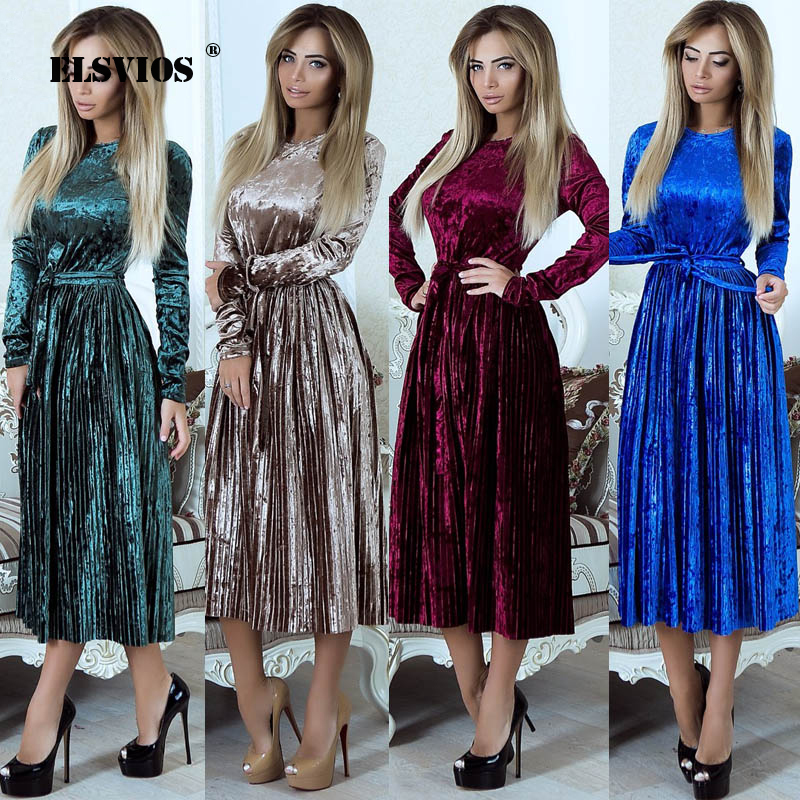 ELSVIOS 2018 Autumn Winter Velvet Pleated Dress Women Slim Fit OL Elegant Party Dress Vintage Warm Long Midi Dress With Sashes