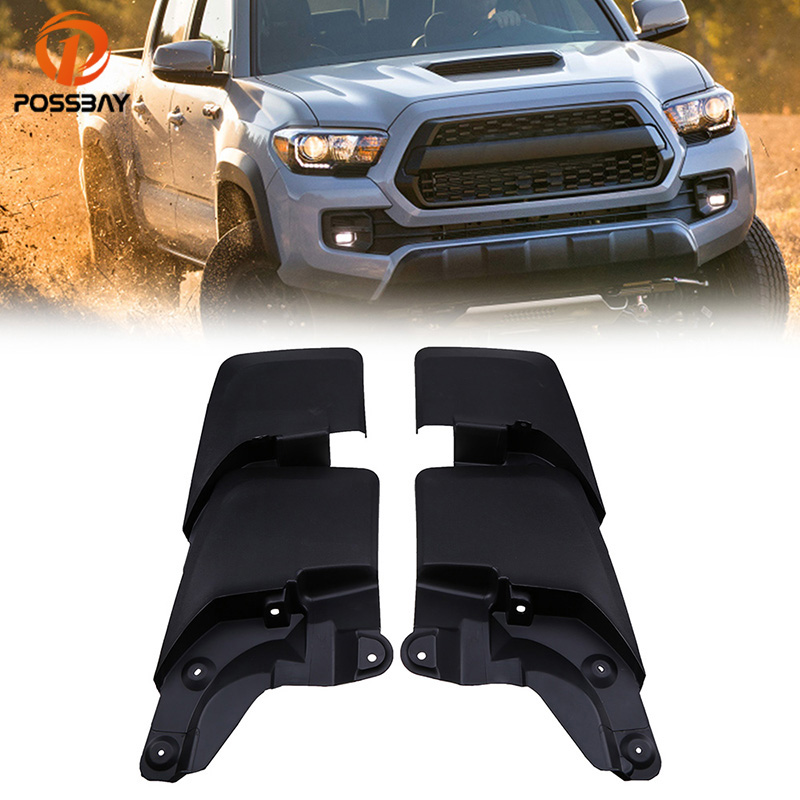 POSSBAY 4Pcs Front Rear Mud Guards Flaps for 2016-2018 Toyota Tacoma Car Mud Flaps Splash Guards Car Mudguards Car Accessories for ford explorer 2013 2018 plastic more fashion front rear mud guard mudguards splash flaps cover protector trim 4 piece