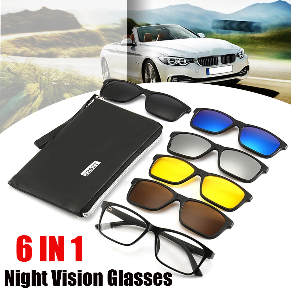 New <font><b>6</b></font> <font><b>IN</b></font> <font><b>1</b></font> Night Vision Glasses Polarized <font><b>Sunglasses</b></font> TR90 Retro Frame Eyewear Night Vision Driving Optical Glasses With Bag image