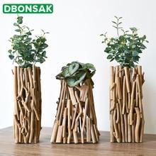 Handmade Wooden Geometric Vase Quadrilateral Triangle Trapezoid Flower Pot Living Room Potted Arrangement Decoration