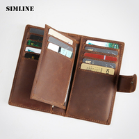 Brand Vintage Genuine Crazy Horse Leather Cowhide Mens Men Short Wallet Purse Wallets Credit Card ID