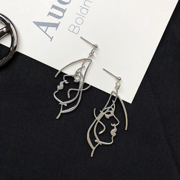 Punk Human Face Drop Earrings For Women Retro Abstract Hollow out Statement Hand Metal Fashion Dangle Jewelry 5