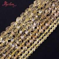 Free Shipping 6 12mm Cube Faceted Yellow Lemon Quartz Beads Jewelry Making Natural Stones Piedras Naturales