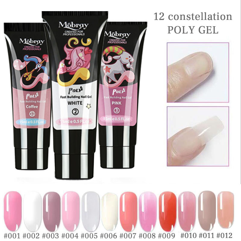 15ml Extend UV Nail Gel Extension Builder Led Gel Nail Art Gel Lacquer Jelly Acrylic Builder UV Nail Poly Gel 12color in Nail Gel from Beauty Health