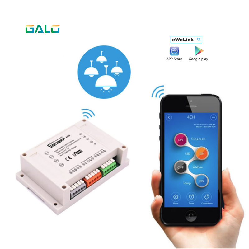 Smart Sonoff Wifi Remote Control 4CH DIY Switch Wireless Home Intelligent Timer Switch 220V Control By ISO Android