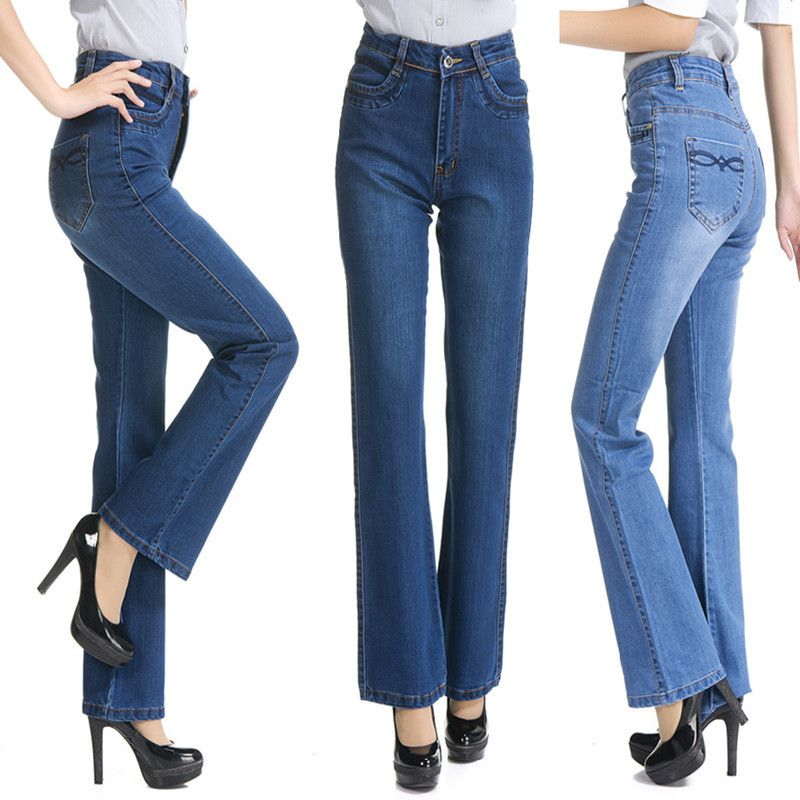 Women's Slim High Waist Boot Cut Jeans Fashion Bell Bottom Denim Trousers Plus Size Wide Leg Flares Jeans Femme Pantalon 231