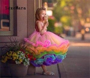 Платье для маленьких девочек с радужным рисунком кекса, блестящее платье с оборками для торжеств, детское платье для первого дня рождения, Д...