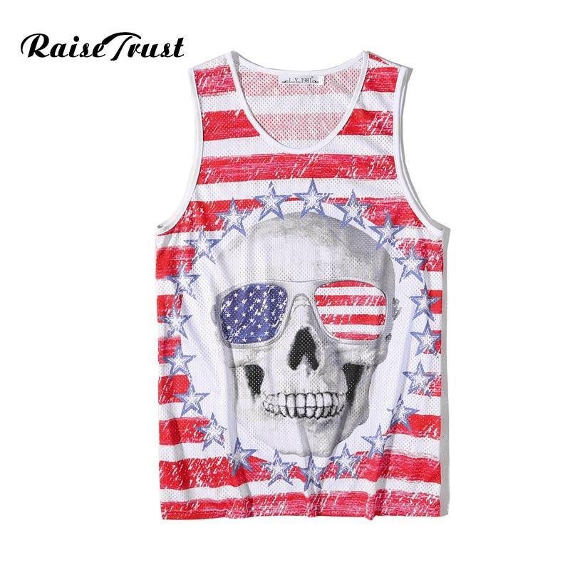 Summer Men/Women Bodybuilding   Tank     Top   3d Printed Red White Stripe Skull Fashion O-neck Sleeveless Gyms Fitness Brand Clothes