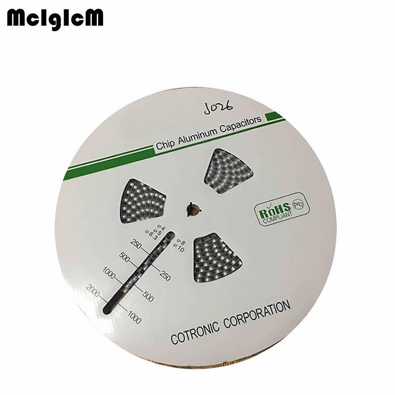 MCIGICM 500pcs 220UF 35V 8mm 10 2mm SMD Aluminum electrolytic capacitor