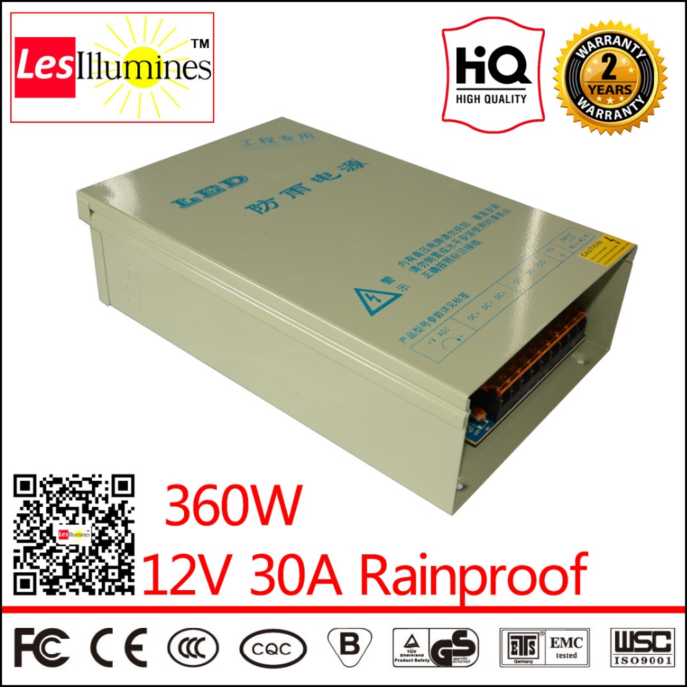 LED Driver Transformer Outdoor Rainproof CE ROHS Approved AC DC Constant Voltage output 12V DC 30A 360W Switching Power Supply when zhou leyu switch power supply 15w ce rohs approved open frame low cost 15w 5v led transformer