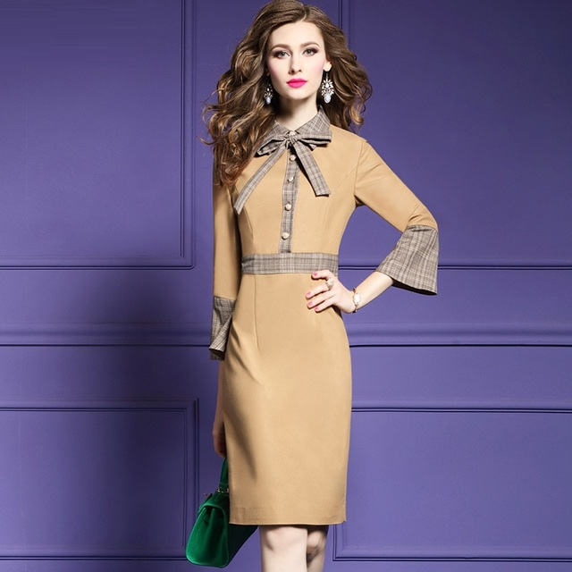 Office lady Pencil dresses 2018 new Spring Autumn fashion patchwork dresses  plus size s XXXL women b4701cde4f6c