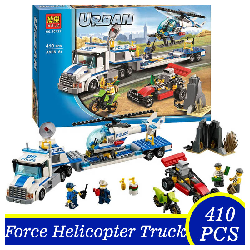 Bela 10422 410pcs Urban City Police Force Helicopter Truck Bricks Building Blocks Toys Children Kids Gift Compatible Lepin lepin 02012 city deepwater exploration vessel 60095 building blocks policeman toys children compatible with lego gift kid sets