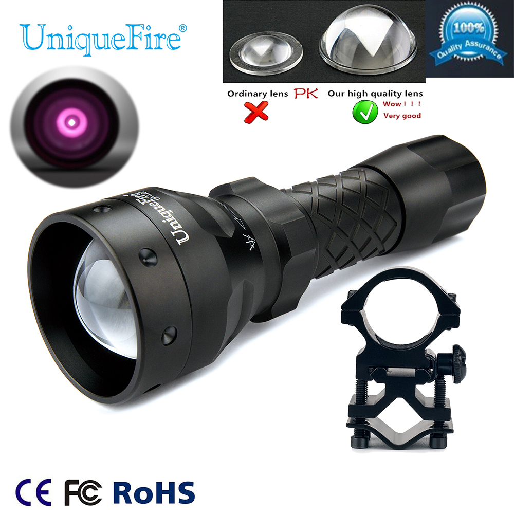 UniqueFire 1407 IR 940nm Night Vision Flashlight Torch Zoomable 3 Modes Lamp Torch+Scope Mount for Night vision Rifle Hunting