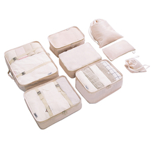 8 pcs set Packing Cubes Travel Luggage Organizer Durable Polyester Travel Bags Hand Luggage Waterproof Packing Bags for Suitcase cheap 12cm 520g WOMEN VEENCHIE FDX-289 41cm Travel Totes Soft zipper Versatile Fashion Floral 31 5cm