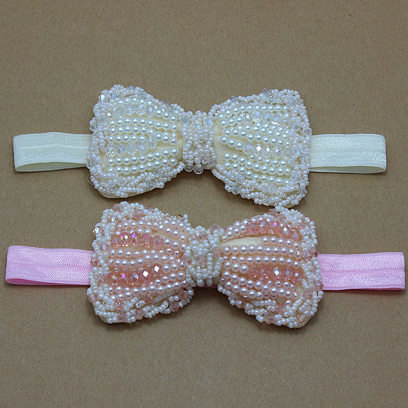 Girls pink bows Headband wedding ivory Pearl and Rhinestone bow hairband for kids Hair Accessories m mism sale fashion hair accessories for women hair band rhinestone crystal pearl headband female wedding decoration hair hoop