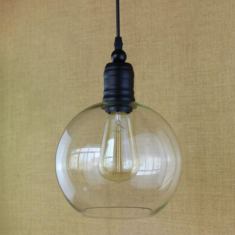 Kitchen Lighting Edison: Antique Retro Copper Hanging Clear Glass Shade Pendant