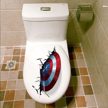 3D Vivid Captain America Shield Through Decorative Wall Stickers For Toilet Decor The Avengers Decals Art PVC Mural Posters