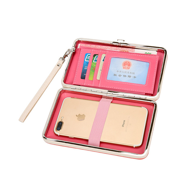 the best attitude 88f3f 6d4ac US $14.87 |Hot Cute Lady Multifunction Long Card Holder Women Floral PU  Leather Mobile Phone Wallet Candy Color Women's Coin Purse 7 colors-in  Wallets ...