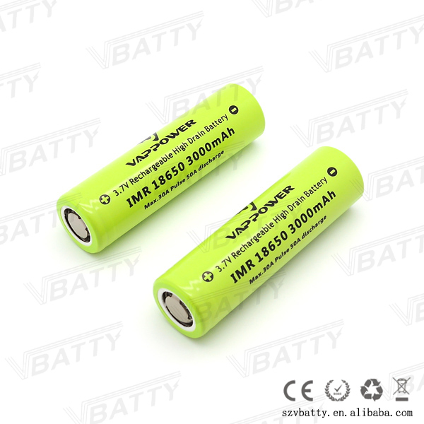 Vappower IMR 18650 3000mah 30A 3.7V rechargeable high drain Li-ion battery with flat top(1 pc)