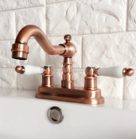 Deck Mounted 4 Centerset 2 Hole Antique Red Copper Bathroom Faucet Wash Basin Mixer Sink Taps