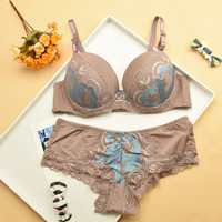 Size 34 42 ABC Coffee Color Bra Sets Solid Decoration Sex Push Up Women Underwear Set
