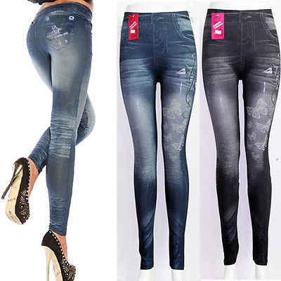 520c8269c36 Популярные женские потертые винтажные тонкие черные узкие брюки-карандаш  синие Леггинсы джинсовые узкие брюки с