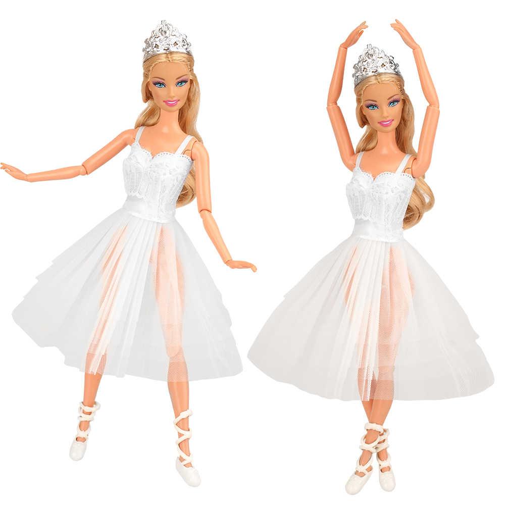 10 artículos/juego de juguetes para niña = 3 muñecas vestido de Ballet + 3 accesorios para muñecas + 3 zapatos de juguete + 1 espejo objetos para juego de vestir Barbie