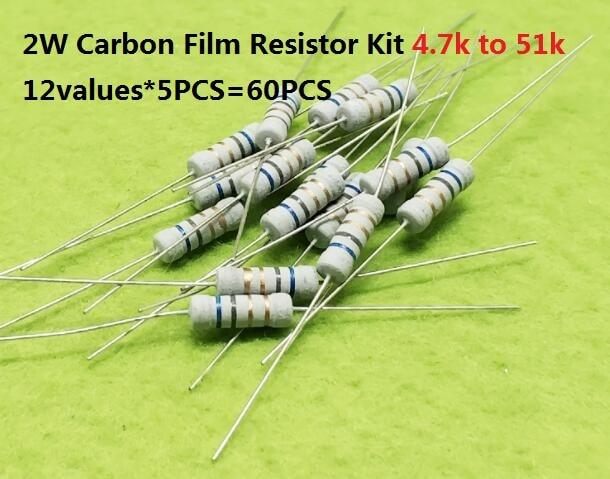 12values*5PCS=60PCS 4.7Kohm-51k Ohms 2W 5% Carbon Fillm Resistor Kit Set Assorted 5.1k 6.8k 8.2k 10k 15k 20k 27k 30k 33k 47k 51k