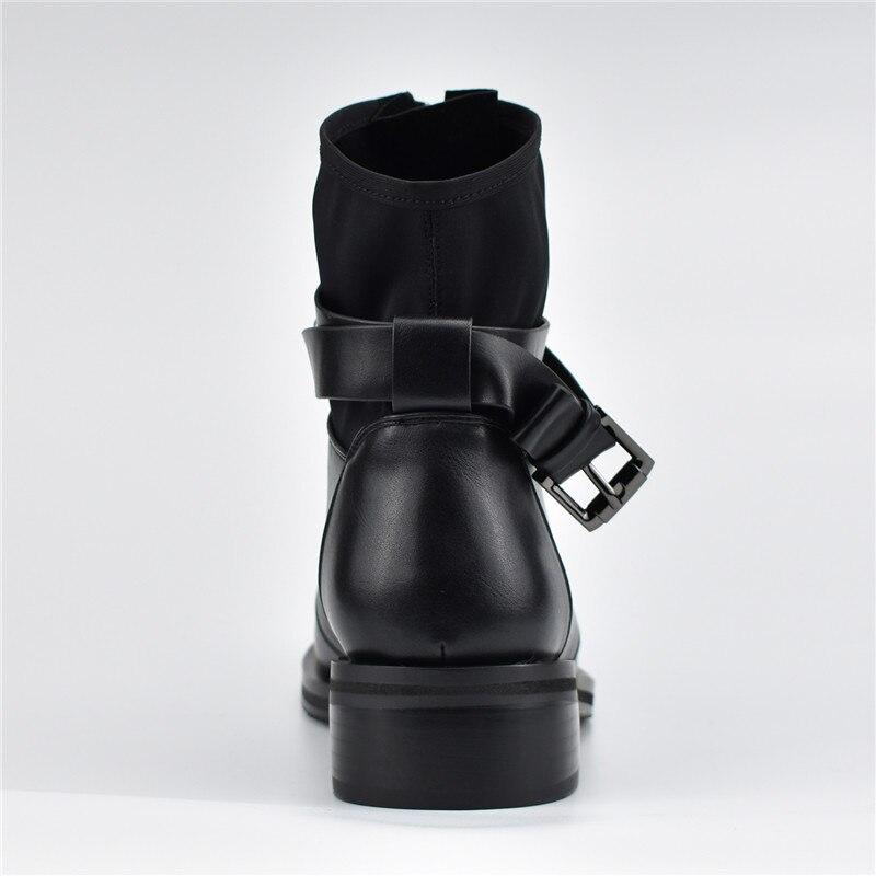Zip Black Cheville Pour 41 Thick Nouvelle Automne Bottes Odetina Taille black Plush Thin Chaussures Boucle Femmes Talons Bas Mode Avant Hiver Plush Grande Sangle Carrés R354ALj