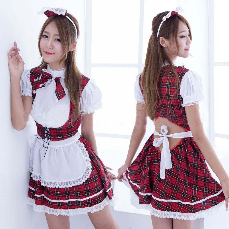 Fashion Woman Lovely Grid Cosplay Lolita Skirt Cute Elegant Dress