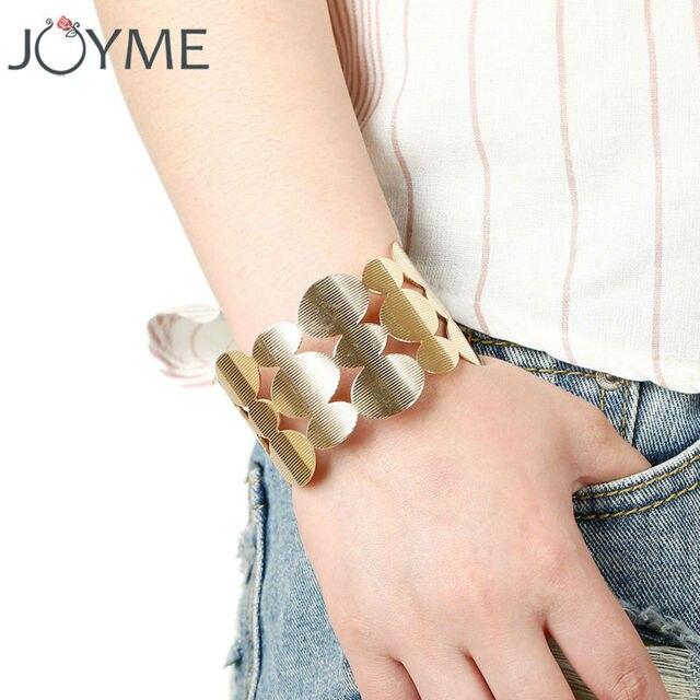 Joyme Gold Color Cuff Bracelets Bangles For Women Armband Wide Steampunk Open Bangle Metal