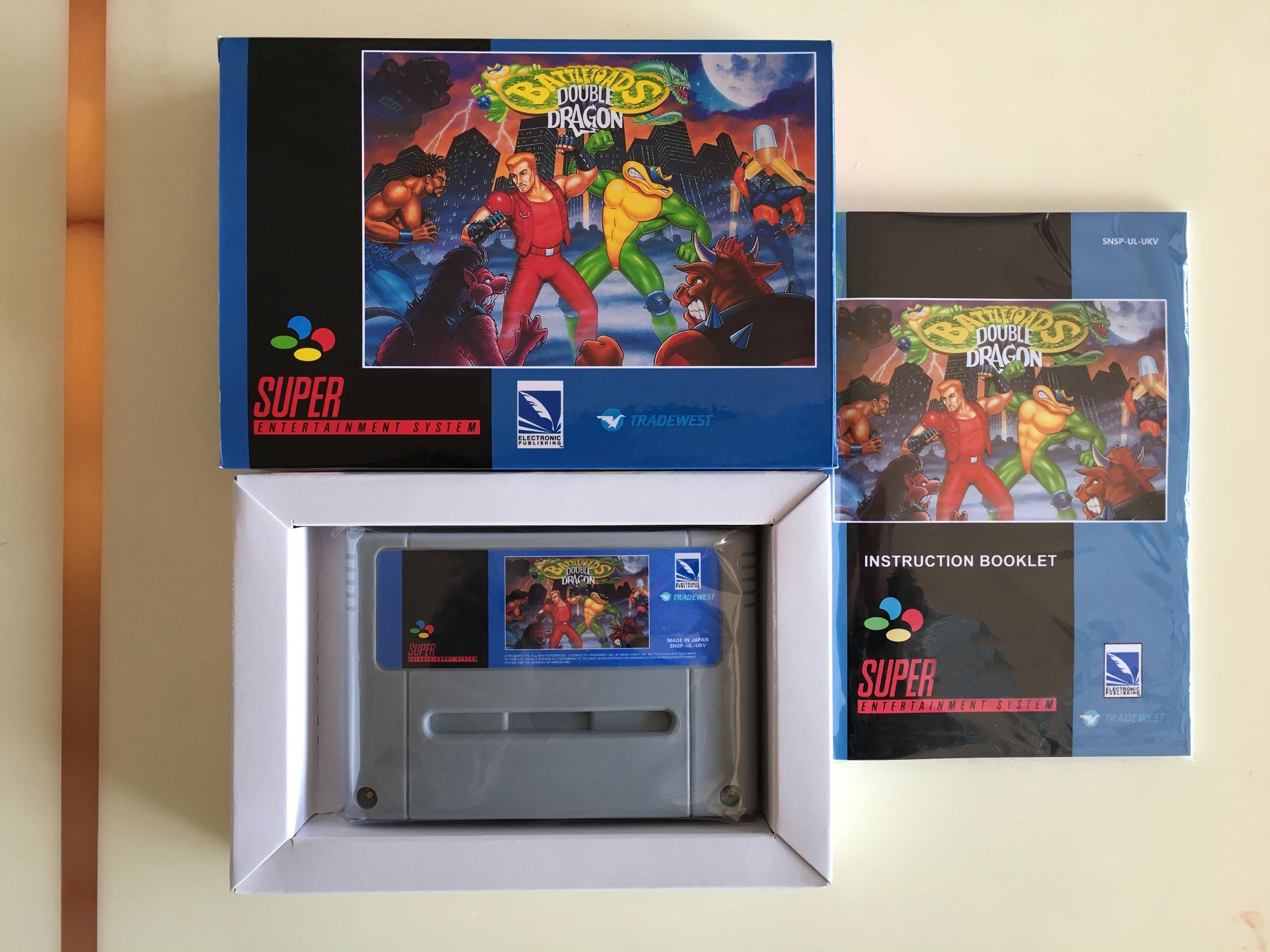 16Bit Games Battletoads Double Dragon UKV PAL Version Box Manual Cartridge
