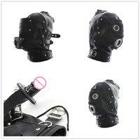Mở Miệng Dương Vật Gag Fetish Bondage Kiềm Chế Pu Leather Slave Hood Mask Quan Hệ Tình Dục Đồ Chơi Cho Couple Adult Game, Sex sản phẩm