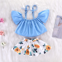 Dresses For Girls Dress With Open Shoulders Belt Off Shoulder Tops Belts Tshirt Floral Skirt 2pcs/Set 1 2 3 4 5 6Year baby girl