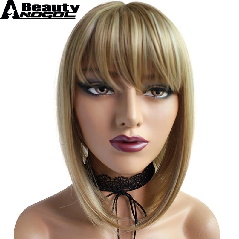 ANOGOL BEAUTY High Temperature Fiber Peruca Cabelo Short Straight Bob Blonde Hair Wigs Black Ombre Platinum Blonde Synthetic Wig