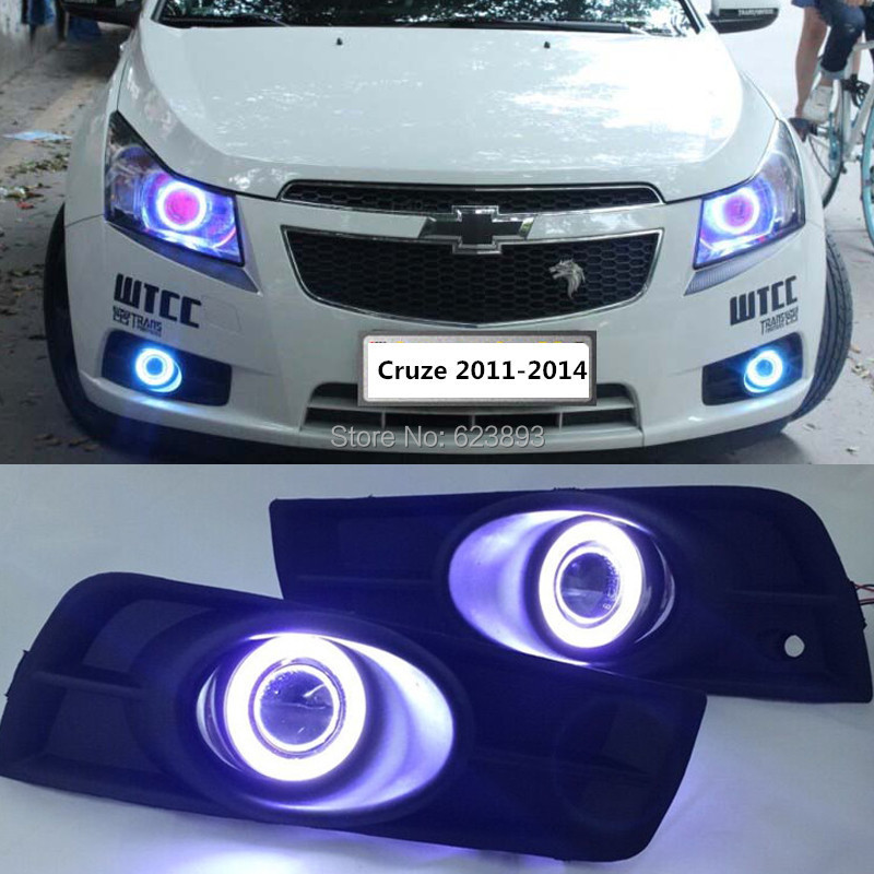 2011-2014 Chevy Cruze LED DRL Strip Halo Projector ...  |2014 Chevy Cruze Lights