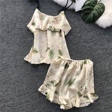 Lisacmvpnel Printing Shorts Women Pajamas Set Female Sweet Ice Silk Sexy Pijama Loose Casual Sleepwear