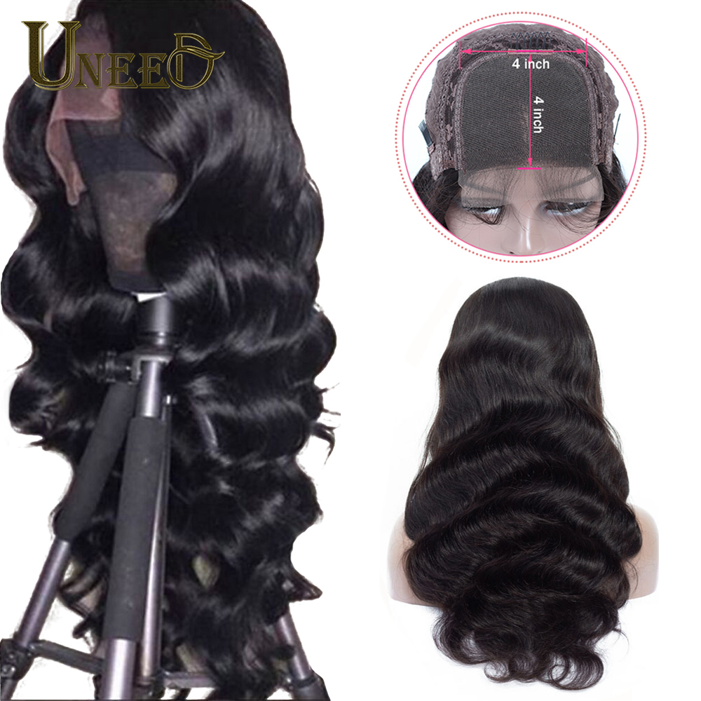 Uneed Body Wave 4x4 Lace Closure Human Hair Wigs For Women Pre Plucked Peruvian Remy Hair Wigs Bleached Knots Baby Hair