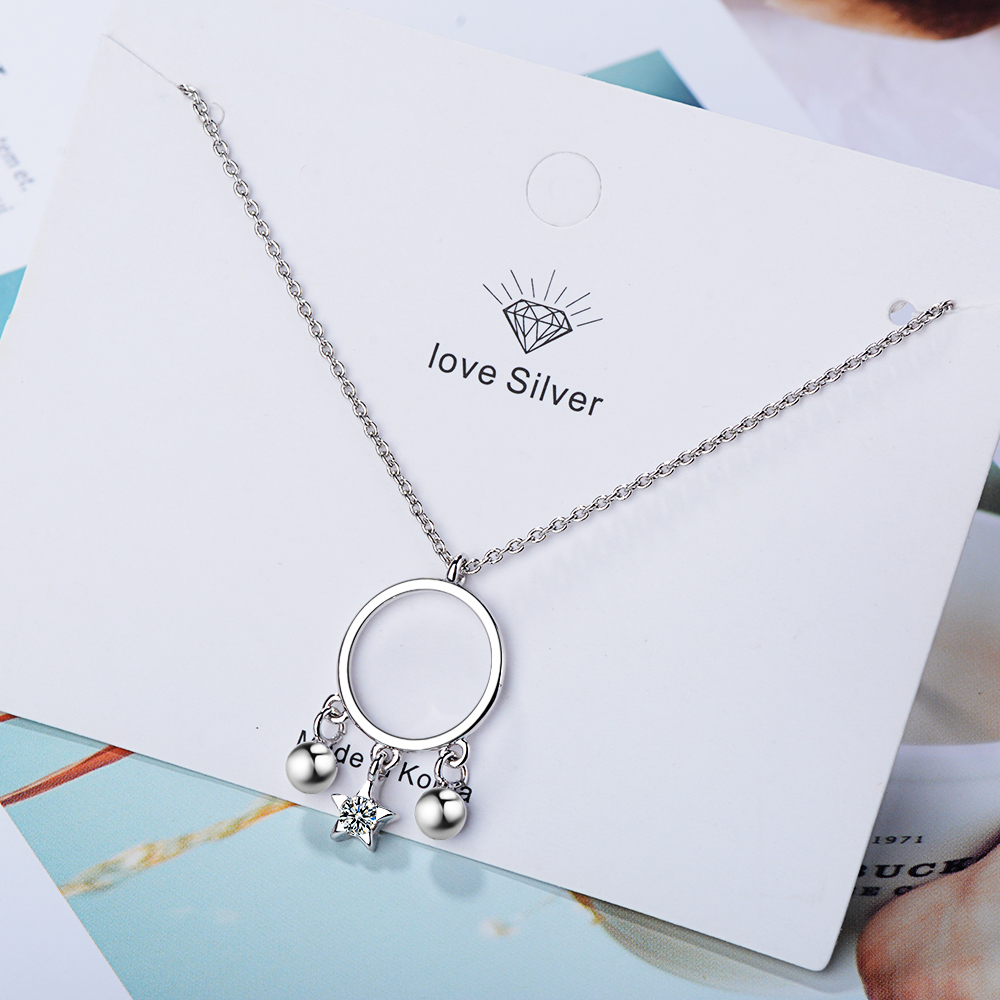 925 Sterling Silver Round Circle Pendant Necklace Fashion Jewelry Bead Star Charm Choker Necklaces Valentine's Day Gift Jewelry
