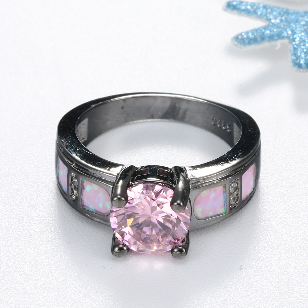 Pink Opal Ring Black Gold Color Band invitations rings Fow Women ...