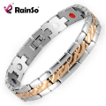 Fashion Rainso Brand Silver Gold Plated Healing 4 in 1 Health Care Elements Stainless Steel Bracelet & Bangle For Men OSB-1554SG