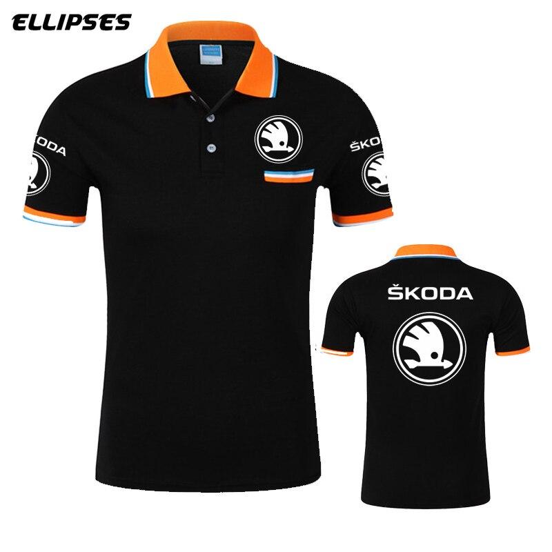 Skoda Car Logo Polo Shirts Summer Outdoor Breathable Men Polo Shirt Men Sports Cycling Running Mens Clothing Mens Polo