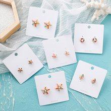 MENGJIQIAO-pendientes de estilo marino con forma de estrella de mar, joyería de hojas de verano, coloridos, 2019